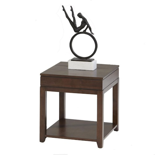 Progressive Furniture Daytona Contemporary Rectangular End Table with Concealed Power Strip