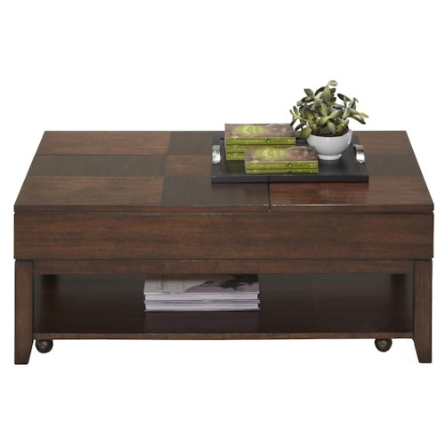 Progressive Furniture Daytona Contemporary Double Lift Top Cocktail Table with Casters