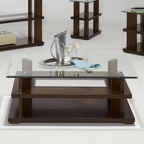 Progressive Furniture Delfino Contemporary Glass Top Rectangular Cocktail Table with Casters
