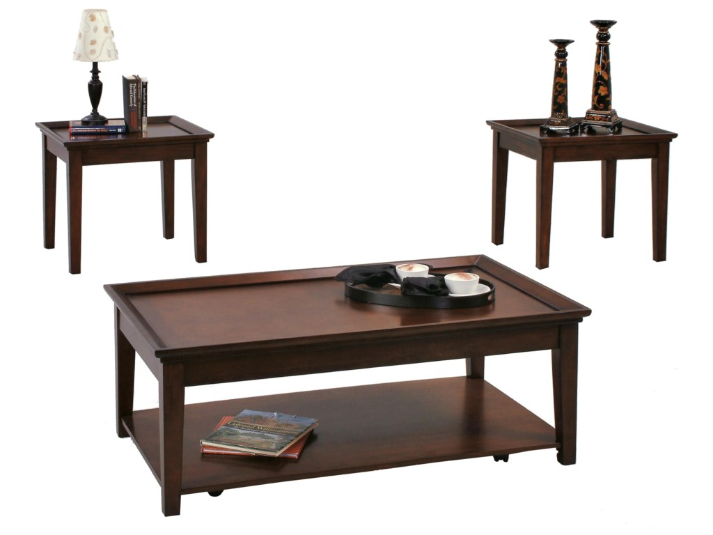 Progressive Furniture Encore 3 Piece Occasional Table Set With 2 End