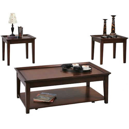 Progressive Furniture Encore 3 Piece Occasional Table Set with 2 End Tables and 1 Cocktail Table