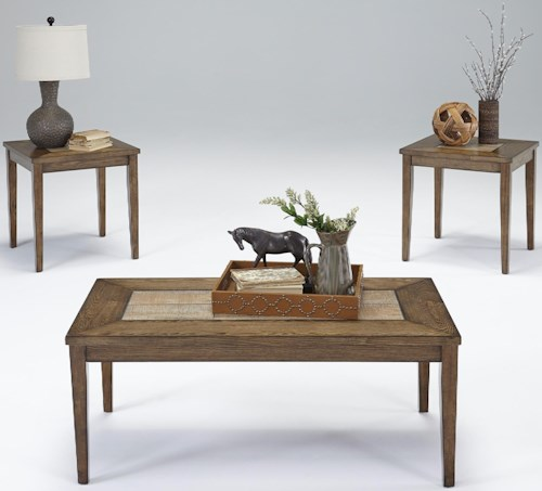 Progressive Furniture Forest Brook 3-Piece Accent Table Set with Tile Tops