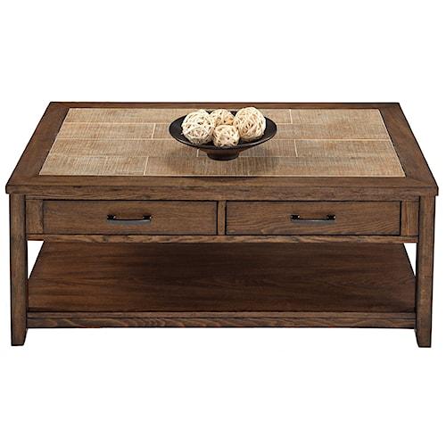 Progressive Furniture Forest Brook Castered Rectangular Cocktail Table with Ceramic Tile Top