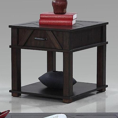 Progressive Furniture Foxcroft Rustic Rectangular End Table