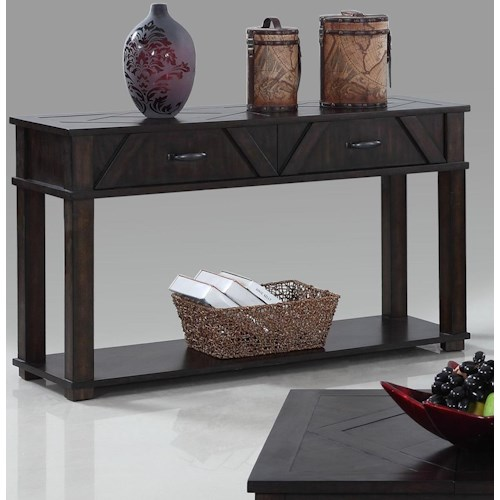 Progressive Furniture Foxcroft Rustic Sofa Console Table With 2 Drawers Shelf