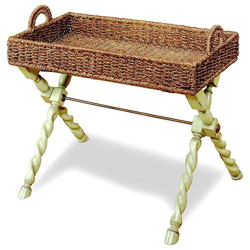Progressive Furniture Gabby Removable Tray Chairside Table - Green Apple/Dark Rattan