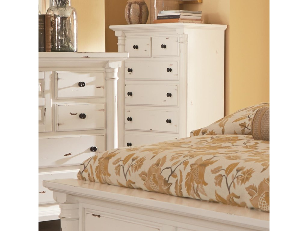 Gramercy park traditional chest of drawers with scalloped bracket foot base by progressive furniture