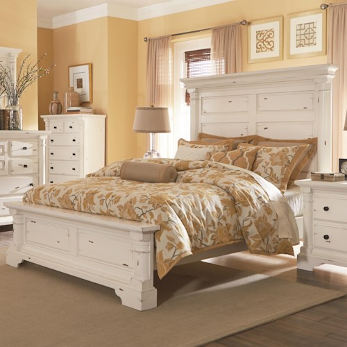 Progressive Furniture Gramercy Park Traditional Queen Panel Bed with Antique Mantle Head Board