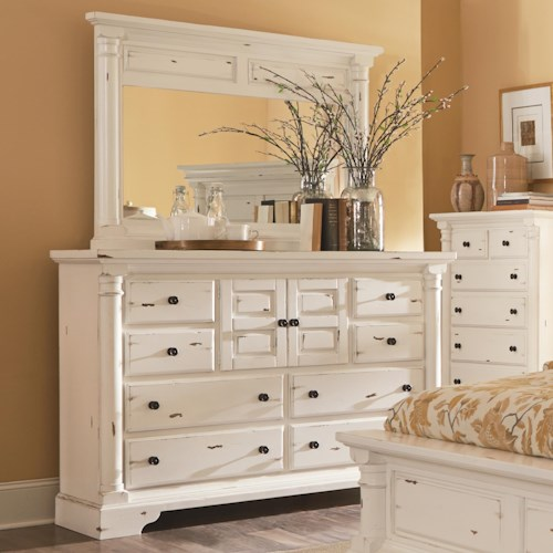Progressive Furniture Gramercy Park Traditional Dresser with Panel Doors and Drawers and Mirror with Solid Wood Frame Set