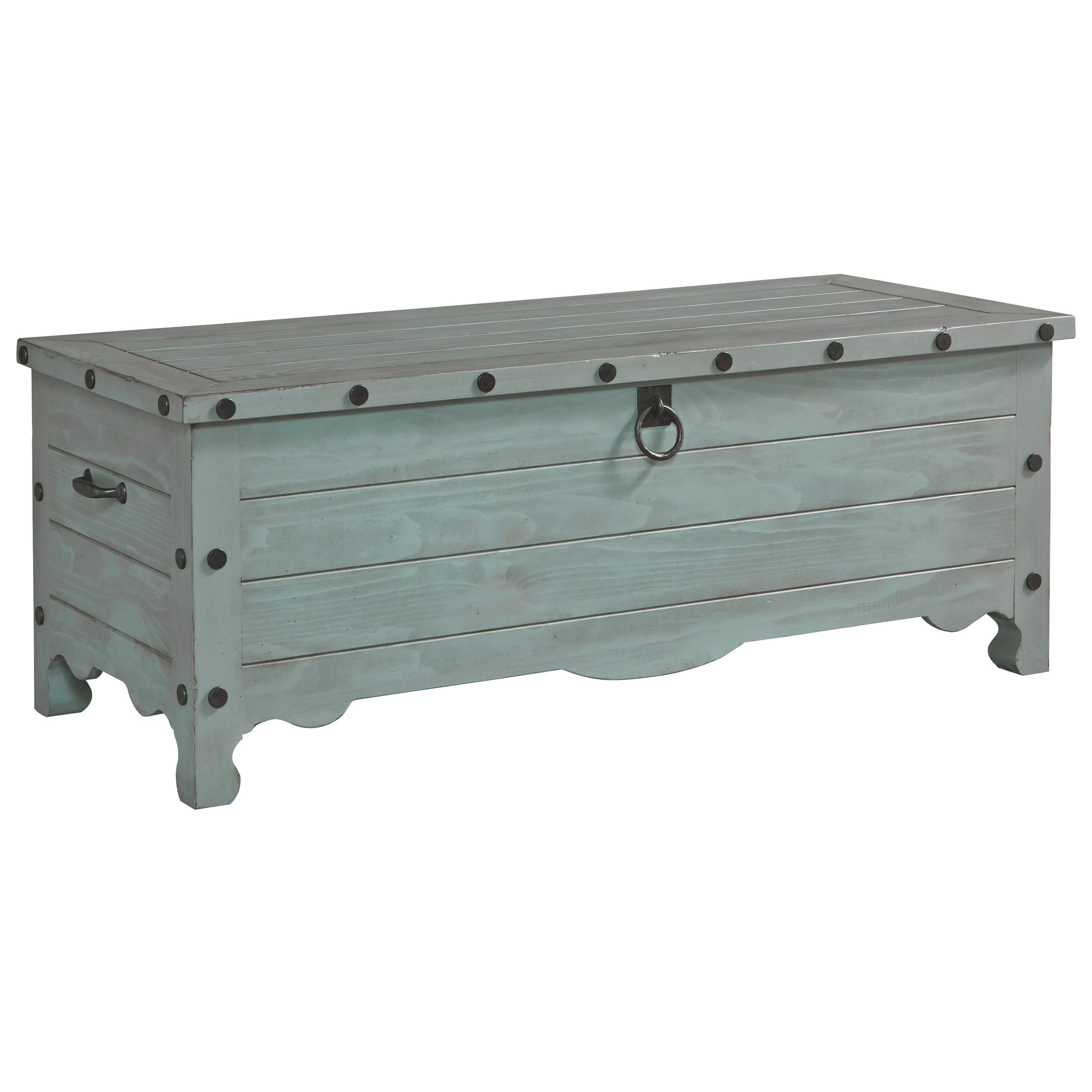 Jesse Solid Pine Storage Trunk In Weathered Gray Finish By Progressive  Furniture