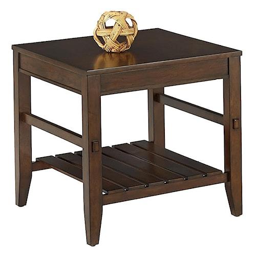 Progressive Furniture Jupiter Key Rectangular End Table with Slat Shelf