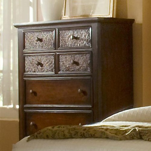 Progressive Furniture Kingston Isle Chest with 7 Drawers and Woven Rattan Drawer Fronts