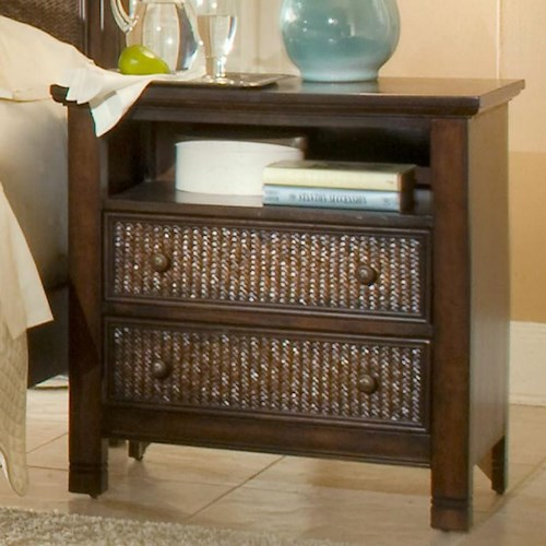 Progressive Furniture Kingston Isle Night Stand with 2 Drawers and Open Compartment