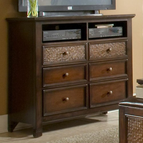 Progressive Furniture Kingston Isle Media Chest with 2 Storage Compartments and 6 Drawers
