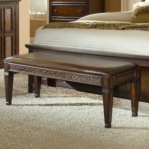 Progressive Furniture Kingston Isle Bench with Woven Rattan Detail and Tapered Legs