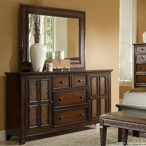 Progressive Furniture Kingston Isle 2 Door and 4 Drawer Dresser with Mirror Set