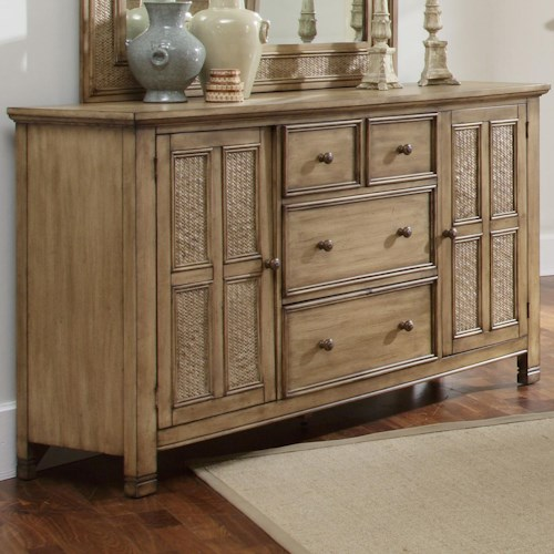 Progressive Furniture Kingston Isle 2 Door Dresser with 4 Drawers