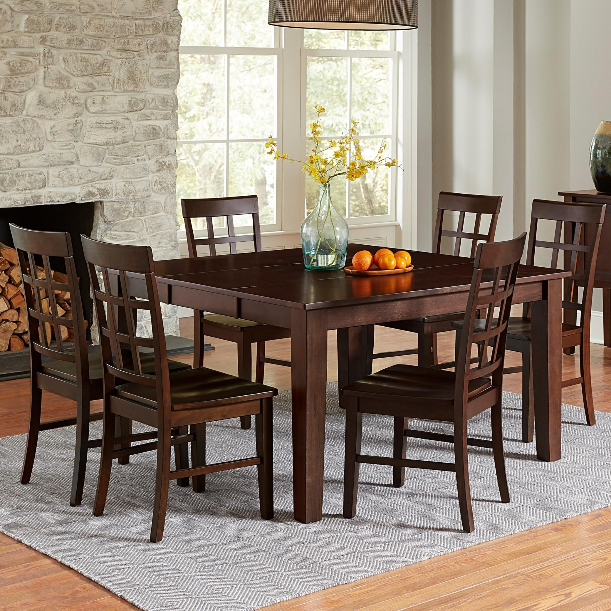 Progressive Furniture Kinston Transitional 7 Piece Dining Set With  Butterfly Leaf
