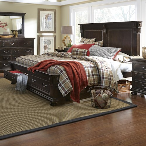 Progressive Furniture La Cantera Traditional Queen Storage Bed with 2 Footboard Drawers