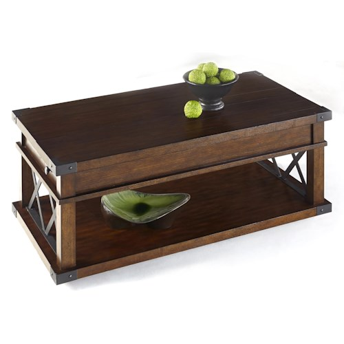 Progressive Furniture Landmark Industrial Castered Cocktail Table with X-Shaped Metal Motifs
