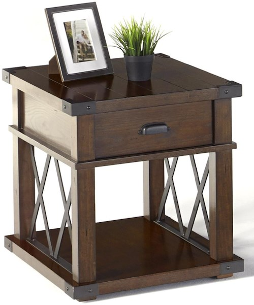 Progressive Furniture Landmark Industrial Rectangular End Table with X-Shaped Metal Motifs