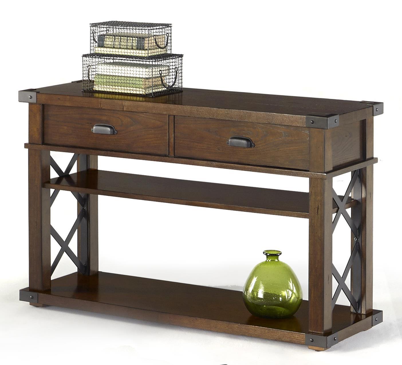 Furniture Motifs. Progressive Furniture Landmark Industrial Sofa/console  Table With X Shaped Metal