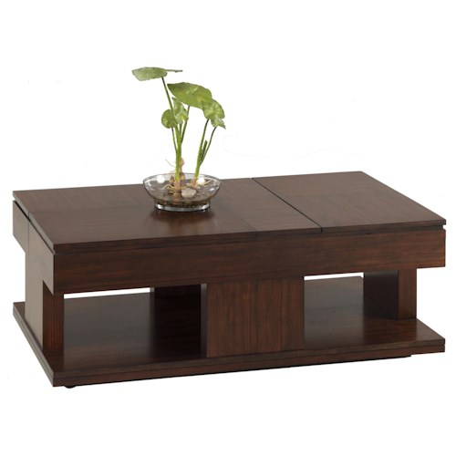 Progressive Furniture Le Mans Modern Double Lift Top Cocktail Table with Casters