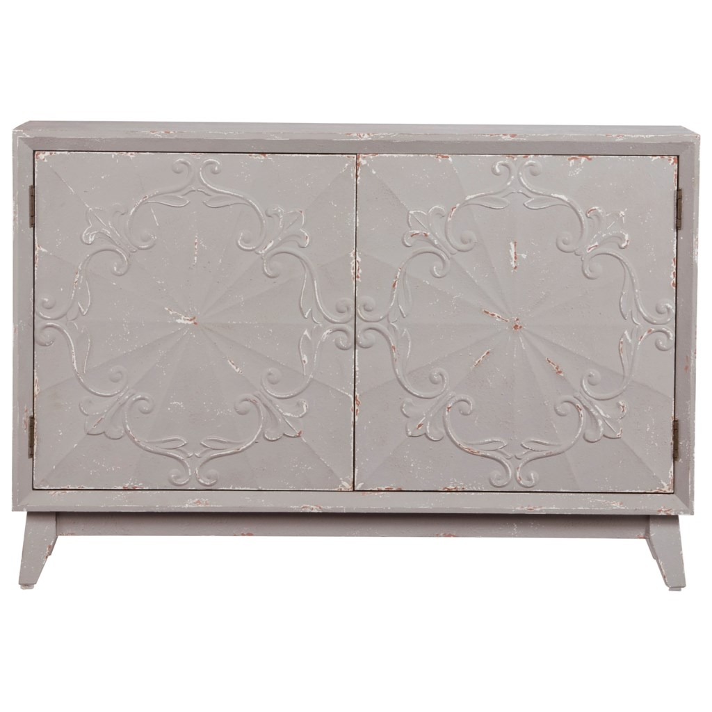 Progressive Furniture Lindsey Transitional Distressed Gray 54 Inch
