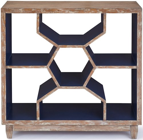 Progressive Furniture Mahi Ash Console with Geometric Design and Cobalt Blue Interior