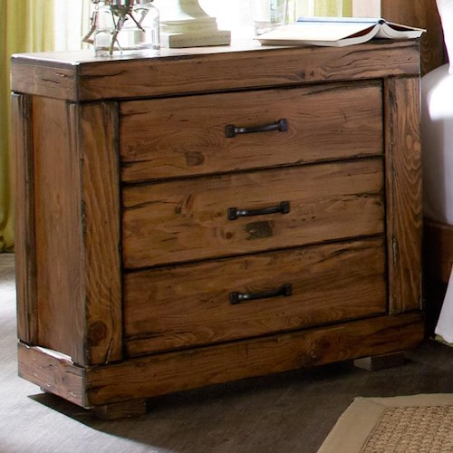 Progressive Furniture Maverick Rustic 3 Drawer Nightstand with Softened Corners and Block Feet