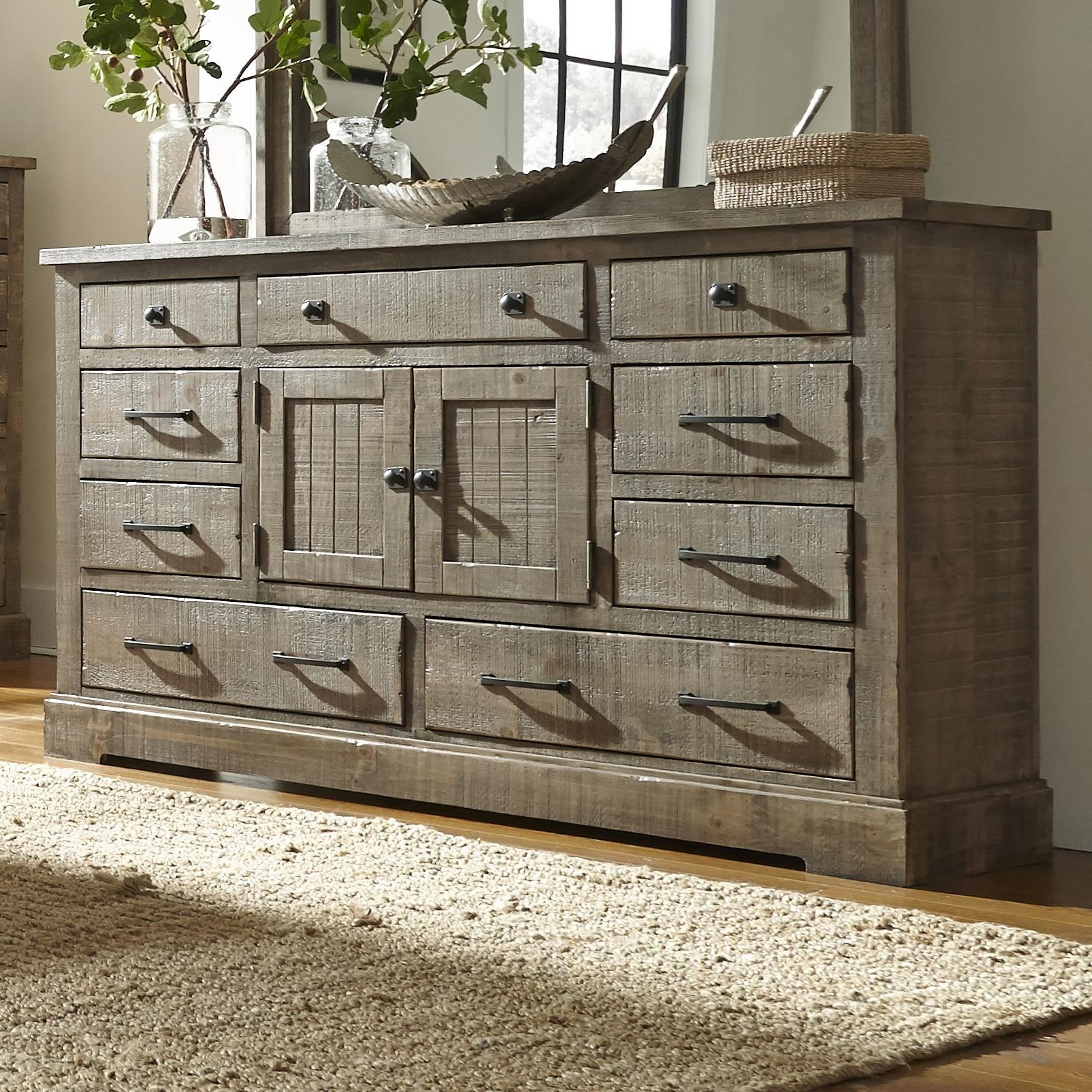 Progressive Furniture Meadow Rustic Pine Door Dresser With 6 Drawers U0026 2  Center Doors