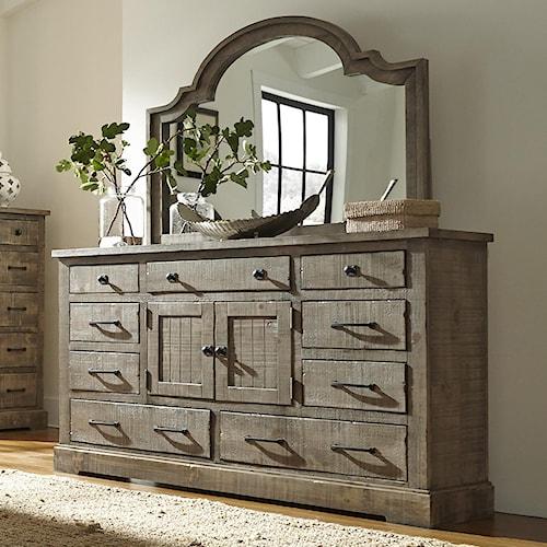 Progressive Furniture Meadow Rustic Pine Door Dresser with 6 Drawers & 2 Center Doors