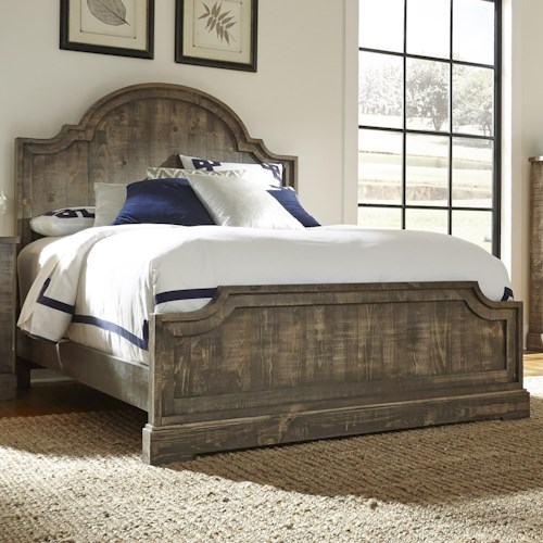 Progressive Furniture Meadow Rustic Pine Queen Panel Bed with Scalloped Trim