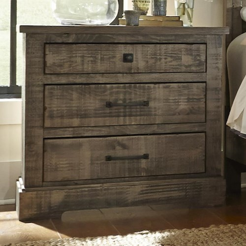 Progressive Furniture Meadow Rustic Pine Nightstand with 3 Drawers