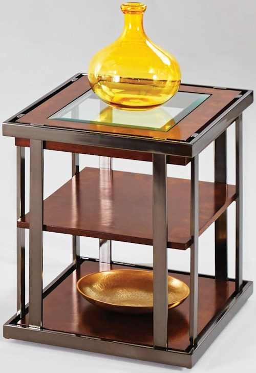 Progressive Furniture Medalist Contemporary Style End Table with Black Nickel Accents