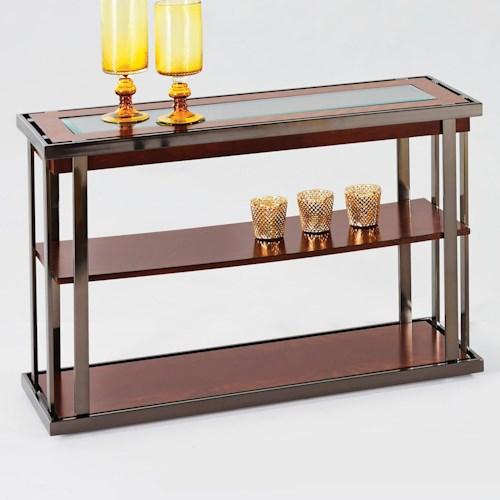 Progressive Furniture Medalist Contemporary Style Console Table with Black Nickel Accents