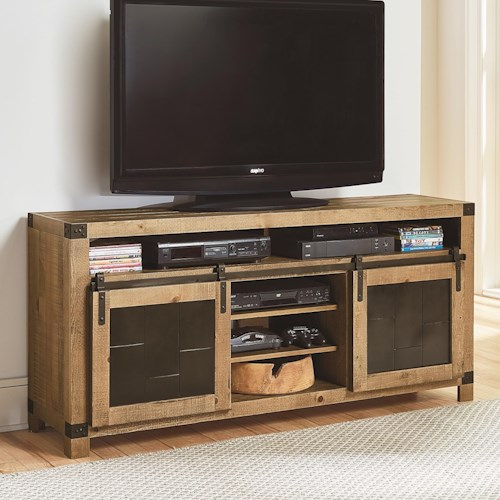Progressive Furniture Mojo Rustic 64 Inch Console with Metal Sliding Barn Doors