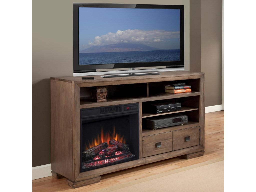 Progressive Furniture Mulholland60 Inch Console with Fireplace