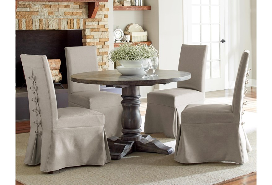 Progressive Furniture Muses 5 Piece Round Dining Table Set With Slipcover Parsons Chairs Lindy S Furniture Company Dining 5 Piece Sets