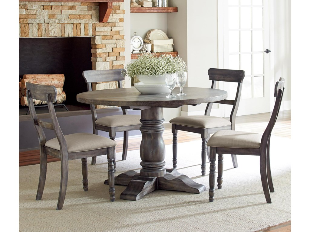Progressive Furniture Muses 5 Piece Round Dining Table Set With Ladderback Chairs