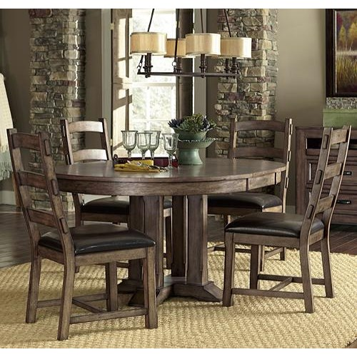 Progressive Furniture Boulder Creek Arts and Craft Styled Dining Table with Solid Rubberwood Pedestal