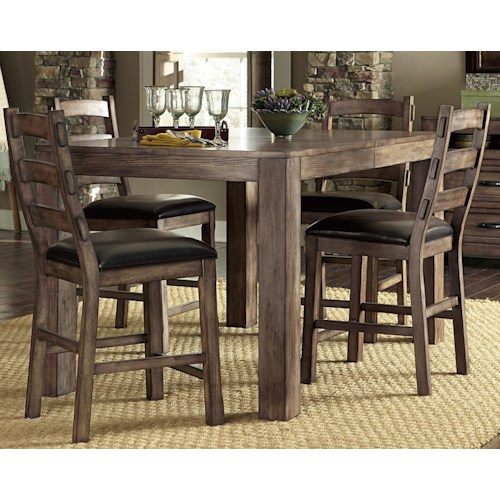 Progressive Furniture Boulder Creek 5 Piece Counter Dining Table and Chair Set with Arts and Craft Styled Flair