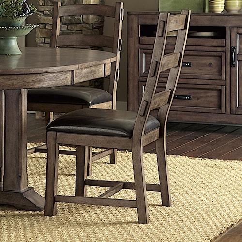 Progressive Furniture Boulder Creek Ladder Back Side Chair with H Stretcher Frame Support