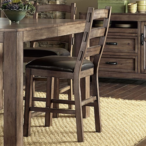 Progressive Furniture Boulder Creek Ladder Back Counter Side Chair with H Stretcher Frame Support
