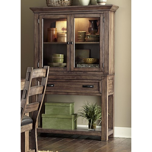 Progressive Furniture Boulder Creek China Cabinet With Minimally Designed Thick Block Legs