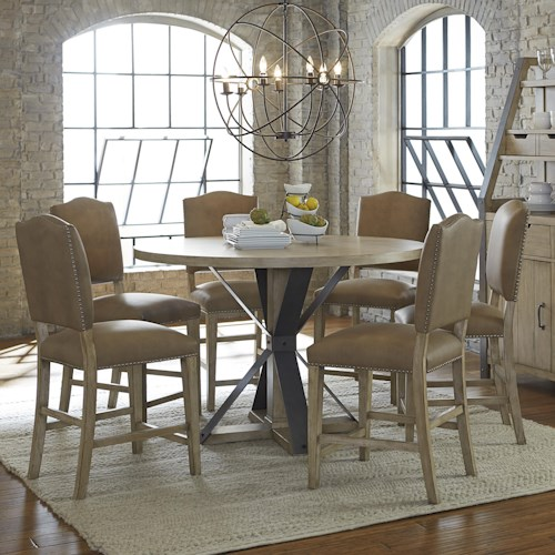 Progressive Furniture Shenandoah 7 Piece Round Table and Chair Set with Traditional Pedestal and Metal Support Stretchers