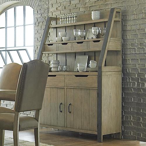 Progressive Furniture Shenandoah Rustic Buffet and Hutch With Metal Door Handles