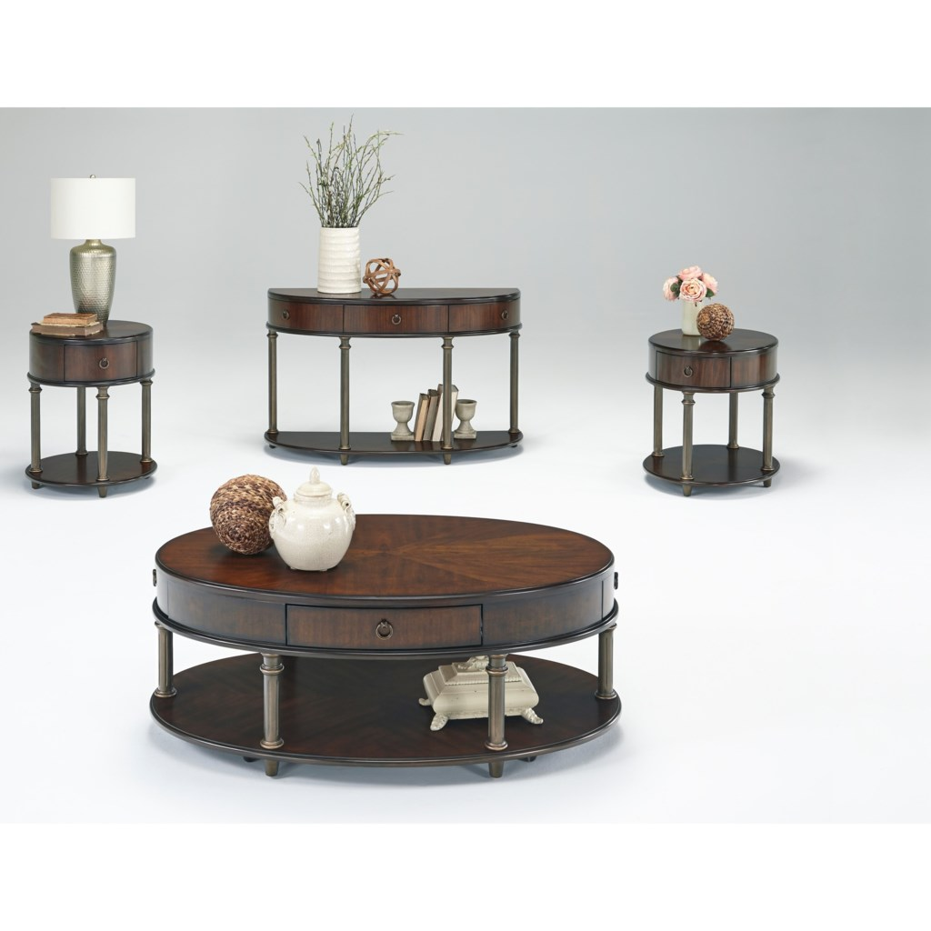 Progressive Furniture Regent Court Oval End Table With Usb Power