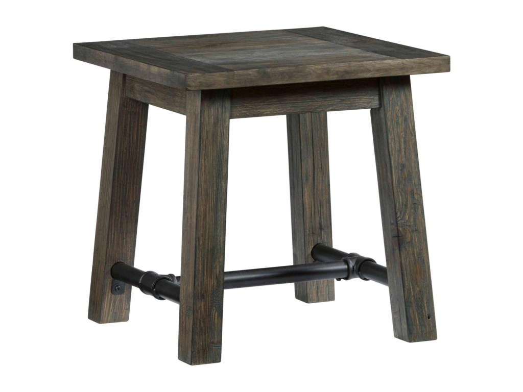 River Court Rustic Square End Table with Metal Stretcher by Progressive  Furniture at Lindy\'s Furniture Company