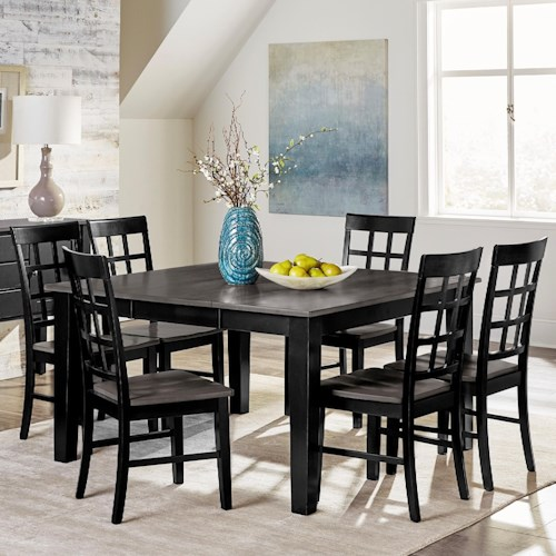 Progressive Furniture Salem 7-Piece Solid Wood Dining Table Set with Self-Storing Butterfly Leaf